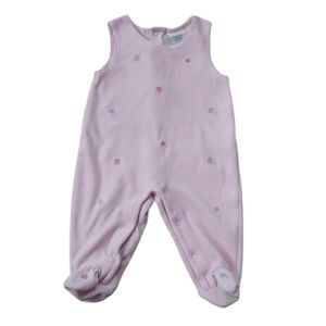 Pink Velour with Embroidered Flowers Romper, 9m